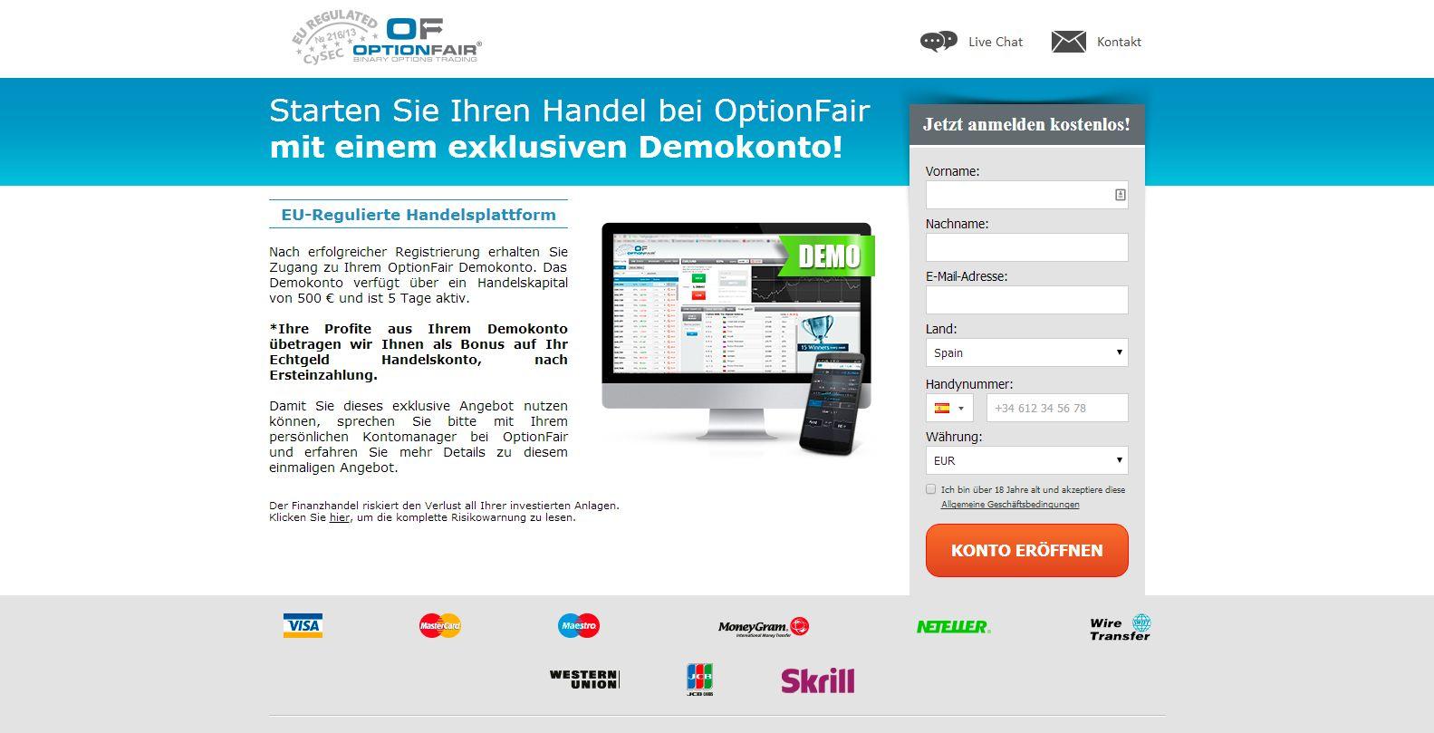 OptionFair Demokonto