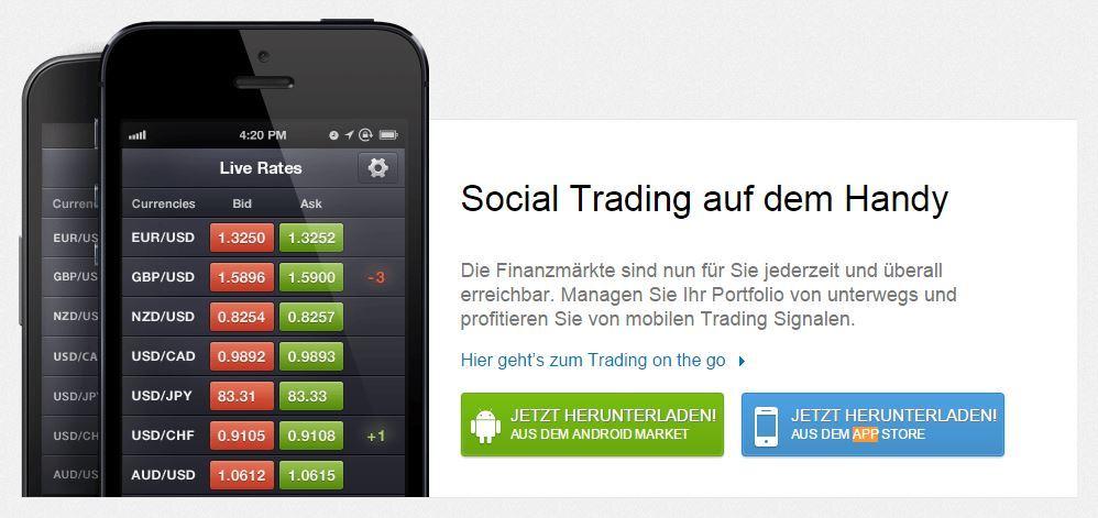 Die eToro App hilft beim mobilen Trading.