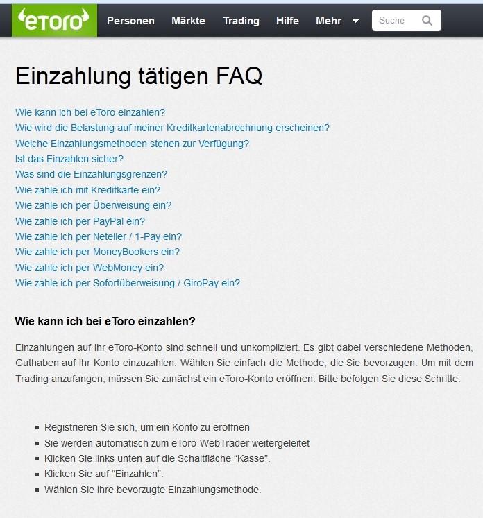 eToro FAQ