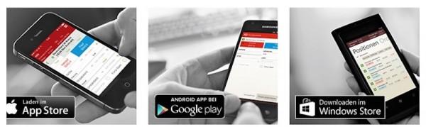 Mobile Apps für alle Betriebssysteme verfügbar