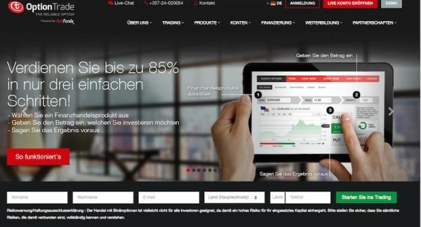 Die Homepage des Brokers OptionTrade