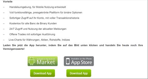 Die Trading-Apps von Banc de Binary