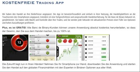 Die Konditionen der Banc de Binary App