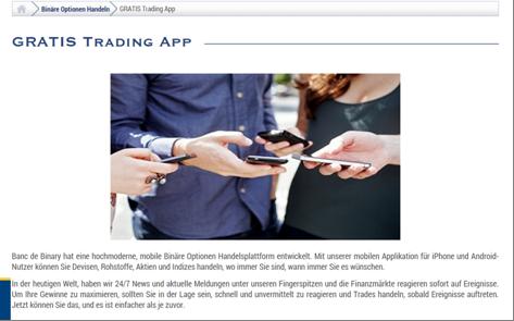 Die Trading App von Banc de Binary