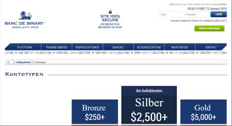 Die Homepage von Banc de Binary