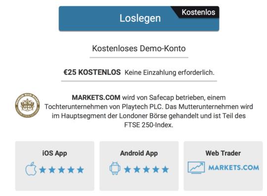 Trader können ein kostenloses Demokonto bei Markets.com eröffnen.