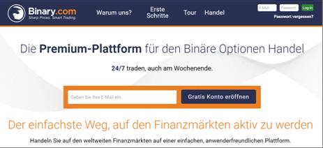 Die Homepage von Binary.com
