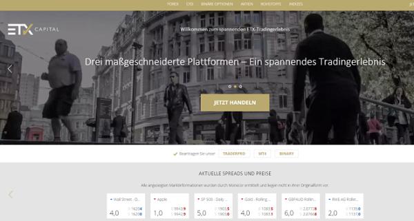 Webseite Broker ETX Capital