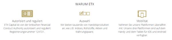 ETX Vorteile