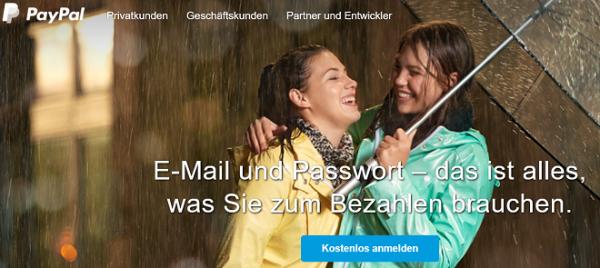 PayPal bezahlen mit Passwort und E-Mail