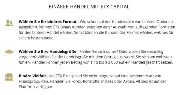 Handel mit binären Optionen bei ETX