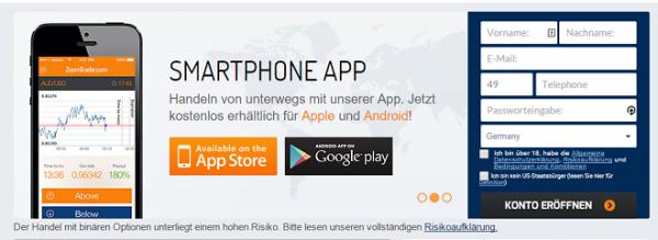 ZoomTrader App für Smartphone