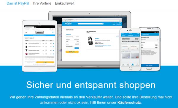 Das ist PayPal – die Webseite