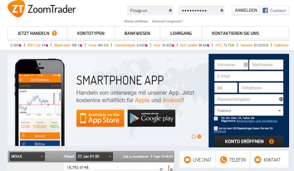 ZoomTrader Webseite