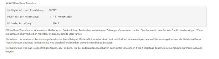 Überblick der Zahlungsoption Offline Bank Transfer