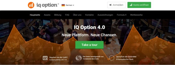Die IQ Option Homepage im Überblick