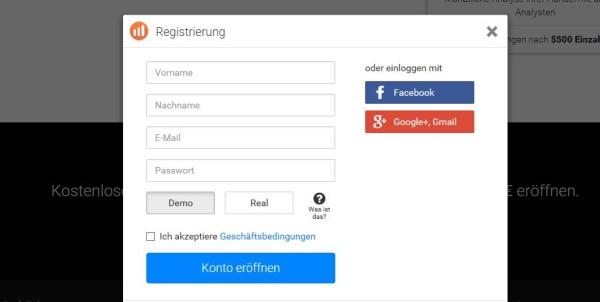 Das Online Registrierungsformular im Überblick
